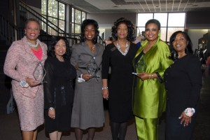 Honoree Debra Adams Simmons, NC100BW 1st Vice President Marian Wallace, Honoree Judge Pinkey Carr, NC100BW President Elizabeth A. Jones, Honoree Alexandria Johnson Boone and 2014 Women of Vision Chairperson Deborah A. Hill